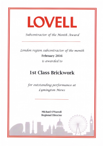 Lovell Homes Regional Outstanding Performance Award 2017